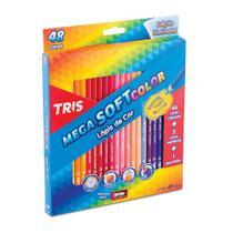 Lápis de Cor 48 Cores Triangular Tris Mega Soft Color + Apontador -