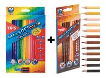 Lápis De Cor 48 Cores Tris (36 Mega Soft Color + 12 Tons De Pele) -