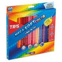 Lápis de Cor 60 Cores Triangular Tris Mega Soft Color + Apontador -