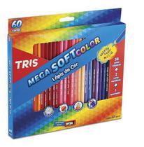 Lápis De Cor 60 Cores Tris Mega Soft Color + 1 Apontador Brinde -
