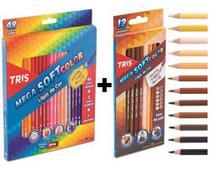 Lápis De Cor 60 Cores Tris Mega Soft Color (48 tradicional + 12 Tons De Pele) -