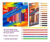 Lápis De Cor 78 cores Tris Mega Soft + Brinde (60 tradicional + 12 Tons de Pele + 6 Neon) -