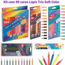 Lápis de Cor 90 cores Tris Mega Soft Color + Brinde (48 Mega Soft Color + 12 Tons de Pele  + 12 Tom Pastel + 12 Metálico + 6 Neon) - Summit Tris
