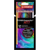 Lápis de Cor Aquarelável 12 Cores Stabilo Aquacolor Arty - 1612/1-20 -