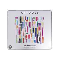 Lapis de Cor Aquarelavel 24 Cores Artools Estojo com Pincel -