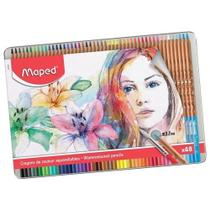 Lápis de cor Aquarelável 48 cores Estojo Metálico -Maped -