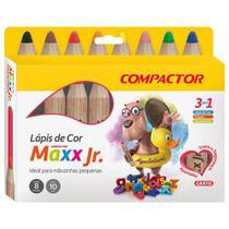 Lápis de Cor Aquarelável 8 Cores Compactor Maxx Junior com 4 Estojos -