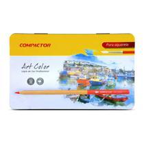 Lápis de Cor Aquarelável Compactor Art Color 12 Cores -