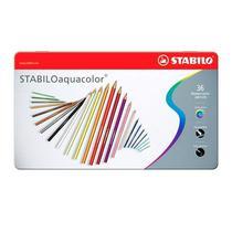 Lápis de Cor Aquarelável em Estojo Metálico Stabilo Aquacolor 36 Cores -