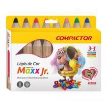 Lápis de Cor Aquarelável Maxx Jr - 3 em 1 - 10mm - c/8 Cores - Compactor