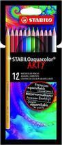 Lápis de Cor Aquarelável Stabilo Aquacolor Arty 12 Cores -