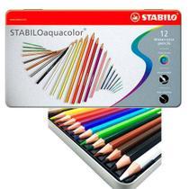 Lápis de Cor Aquarelável Stabilo Aquacolor Estojo Metal 012 Cores 1612-5  1612-5 -