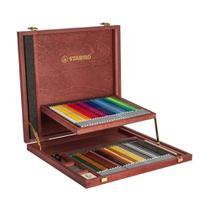 Lápis de Cor Aquarelável Stabilo Wooden com 60 peças Madeira -