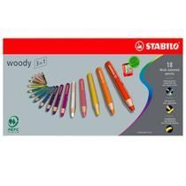 Lápis de Cor Aquarelável Stabilo Woody 3 in 1 010 mm 018 Cores 880/18  880/18 -