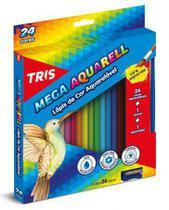 Lápis de Cor Aquarelável Tris Mega Aquarell Triangular 024 Cores 682037 -