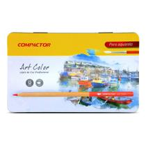 Lápis de Cor Art Color Aquarelável 12 cores + 1 Pincel Compactor -