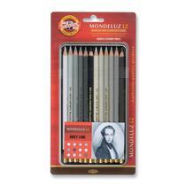 Lapis de Cor Artistico Mondeluz 12 Tons de Cinza Koh-I-Noor -