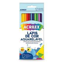 LAPIS DE COR C/12 AQUARELAVEL -ACRILEX - Com Pincel - Papelaria