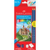 Lapis de cor c/12 cores sextavado + kit escolar - 120112+2n - Faber Castell