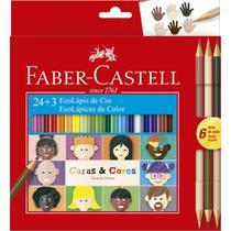 Lapis de cor c/24 cores + 6 tons de pele caras e cores faber - Faber Castell