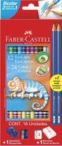 Lapis de cor c/24 cores sextavado 12 lapis bicolor faber cas - Faber Castell