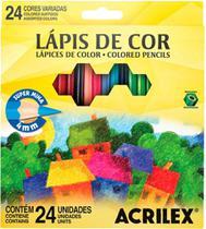 Lapis De Cor C/24 Cores Sextavado Super Mina Acrilex -