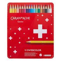 Lápis de Cor Caran D'Ache Swisscolor Aquarelável 18 Cores - Caran Dache