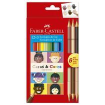 Lapis de Cor Caras e Cores 12 Cores + 6 Tons de Pele Faber Castell -