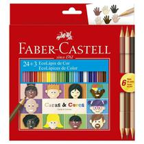 Lapis de Cor Caras e Cores 24 Cores + 6 Tons de Pele Faber Castell -