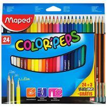 Lapis de cor color peps 24 cores+3 lapis hb - mape - Maped