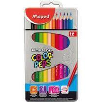 Lapis de cor com 12 cores triangular metal - 832014zv - Maped -