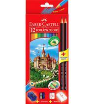 Lápis de cor ecolápis 12 cores sextavado +02 lapis pretos + apontador + borracha - faber-castell - Faber Casttel