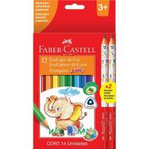 Lapis de cor faber-castell 12 cores jumbo triangular + 2 lapis -