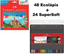 Lápis De Cor Faber Castell 72 Cores (48 LV Eco + 24 Supersoft) -