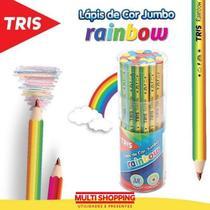 Lapis de cor infantil para criança colorir arco iris jumbo multicor divertido Rainbow Tris -