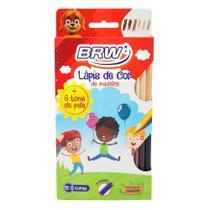 Lapis de cor inteiro 12 cores + 6 tons de pele sextavado - brw -