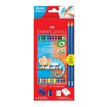 Lápis de Cor Longo 12/24 Bicolor Kit 2 Lapis Grafite+apontador+borracha - Faber Castell -
