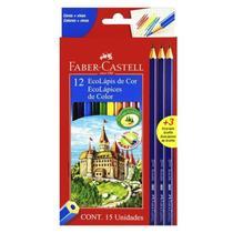 Lápis de Cor Longo 12 Cores +3 Eco Lapis - Faber Castell -