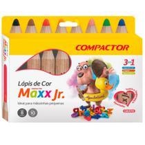 Lápis de Cor Maxx Jr. com 8 Cores - Compactor -