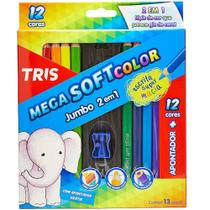 Lapis De Cor Mega Soft Color 12 Cores Jumbo 2 em 1 Tris -