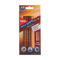 Lápis de Cor Mega Soft Color 12 Cores Tons de Pele Tris -
