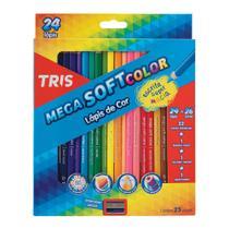 Lápis de Cor Mega Soft Color 24 Cores + Apontador Tris -