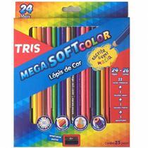Lapis De Cor Mega Soft Color 24 Cores com 1 Metal/bicol Tris -