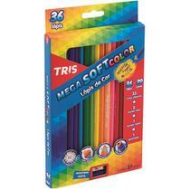 Lápis De Cor Mega Soft Color - 36 Cores + Apontador - Tris - Papelaria