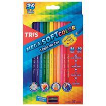 Lápis de Cor Mega Soft Color 36 Cores + Apontador Tris -