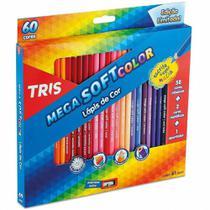 Lápis de Cor Mega Soft Color 60 Cores com 2 Metálicas Tris -