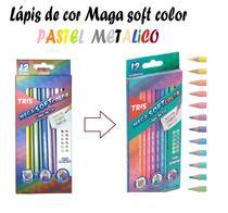 Lápis De Cor Mega soft tris Pastel + Lápis de cor metálico -