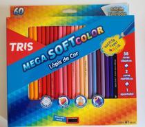 Lápis de cor mega softcolor com 60 cores - Tris