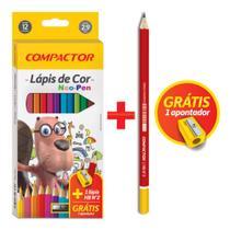 Lápis de Cor Neo-Pen 12 Cores Kit Apontador e Lapis HB - Compactor