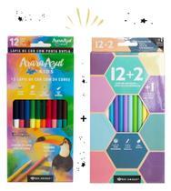 Lápis de cor ponta Dupla Bee Unique+Lapis de cor pastel 12+2 -
